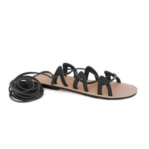 GREEK LEATHER SANDALS 'ANDROMEDA' Black